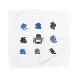 インク瓶と色見本 Towel handkerchiefs