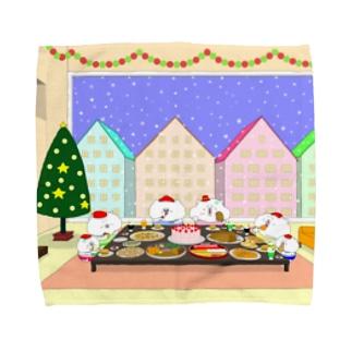 クリスマスパーティーをする猫家族と友達 Towel handkerchiefs