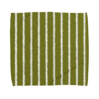 オリーブと白の縦縞 Towel handkerchiefs