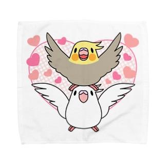 ラブリーオカメインコ【まめるりはことり】 Towel handkerchiefs