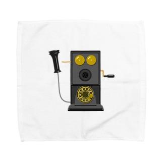 レトロな片耳受話器の片耳受話器の壁掛け電話(デルビル磁石式電話機)のイラスト  黒 受話器外しver Towel handkerchiefs