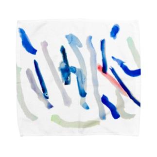 こどもが描いた水彩 雨 Towel handkerchiefs