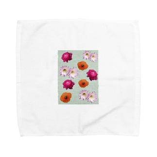 花柄 ×  ボーダー グリーン Towel handkerchiefs