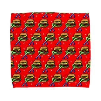 ハッピーハンバーガータイム AO 赤 Towel Handkerchief