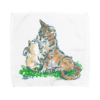 猫ちゃん 親子 Towel handkerchiefs