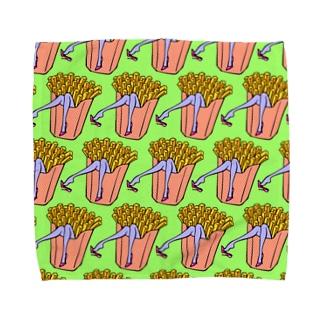 魅惑のフライドポテト🍟 GULTY PLEASURE FRENCH FRIES GREEN Towel Handkerchief