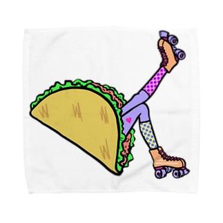 タコス ローラースケート ガール  TACOS ROLLER GIRL DOT 水玉 ドット Tacos Rollerskate Rainbow Towel Handkerchief