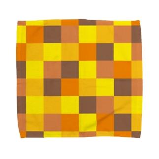 黄色とオレンジ色の市松模様 Towel handkerchiefs