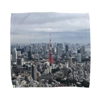 高台から眺める東京タワー Towel handkerchiefs