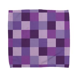 紫色の市松模様 Towel handkerchiefs