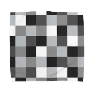 モノクロの市松模様 Towel handkerchiefs