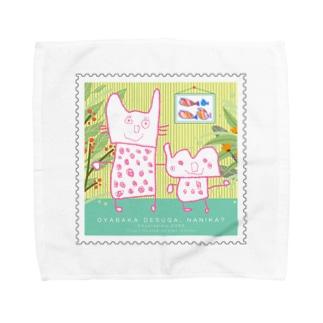 おこめ画伯の猫の親子 Towel handkerchiefs