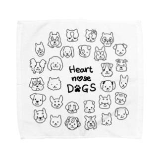 Heart nose DOGS(丸型)Lタオルハンカチ Towel handkerchiefs