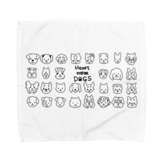 Heart nose DOGS(横長)Lタオルハンカチ Towel handkerchiefs