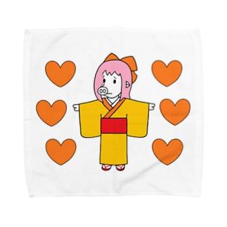お豚(とん)さんwithオレンジハート Towel handkerchiefs