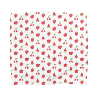 赤いフルーツのパターン Towel handkerchiefs