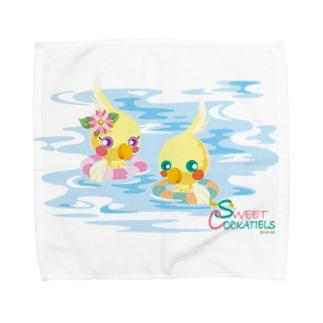 Sweet Cockatiels/浮き輪で海水浴 Towel handkerchiefs