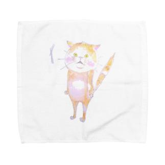 ビクッ‼とした猫 Towel handkerchiefs