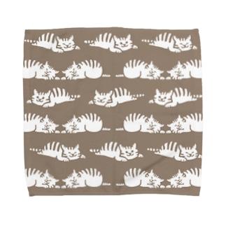 しましまマーチ 茶色 Towel handkerchiefs