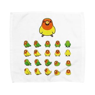 まめるりはことりの整列コザクラインコ隊【まめるりはことり】 Towel handkerchiefs
