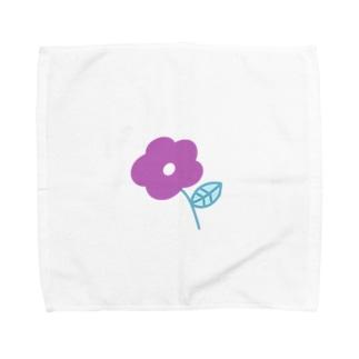 むらさき色のお花 Towel handkerchiefs