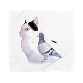 猫とハト Towel handkerchiefs