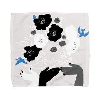 black flower & blue bird Towel handkerchiefs