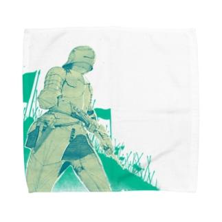 いざ参らん 緑ver Towel handkerchiefs