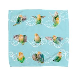 コザクラインコ水浴び連続模様・水色 Towel handkerchiefs