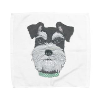 シュナウザー (ブラック・シルバー) Towel handkerchiefs