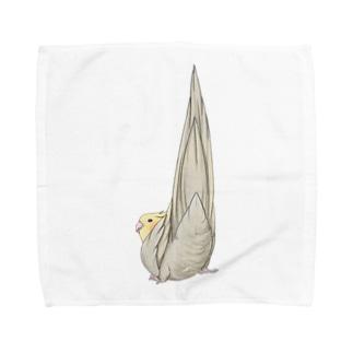 尾羽がピン 可愛いオカメインコちゃん【まめるりはことり】 Towel handkerchiefs