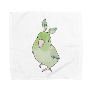お羽飾り マメルリハちゃん【まめるりはことり】 Towel handkerchiefs