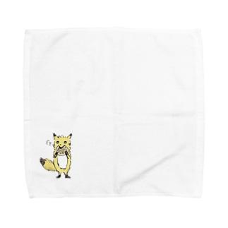 nola Inc.のきつねさんシリーズ-パンケーキ食べる Towel handkerchiefs