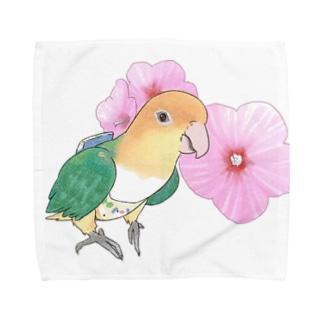 まめるりはことりのお花とシロハラインコちゃん【まめるりはことり】 Towel handkerchiefs