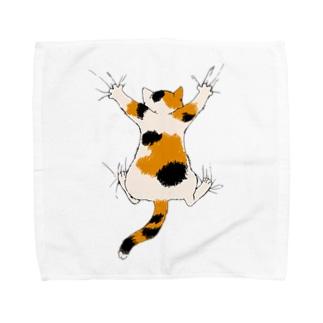 気まま三毛猫(ひっつき) Towel handkerchiefs