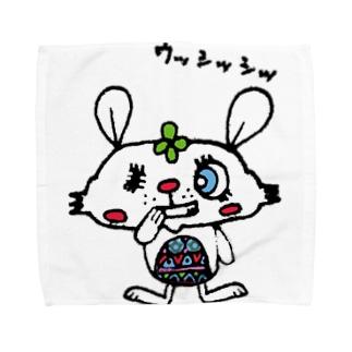 悪巧みするうさぎ Towel handkerchiefs