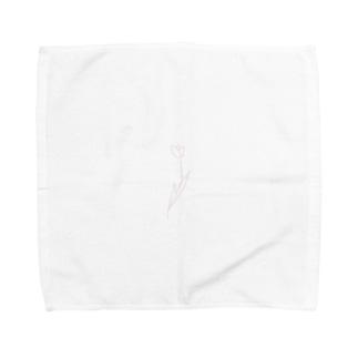 淡色線画チューリップ Towel handkerchiefs