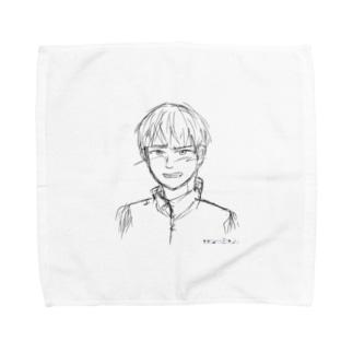 satomimitsukiの照れる少年 ラフ Towel handkerchiefs