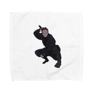 忍者・キツネ面 Towel handkerchiefs