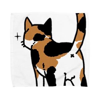 ねこけつ(三毛猫、アップ) Towel handkerchiefs