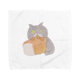 食パンをむさぼるブリショ Towel handkerchiefs