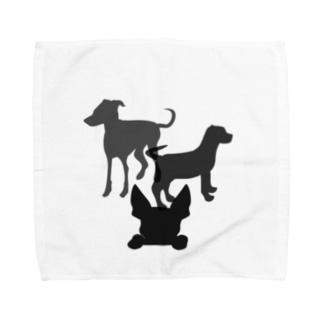 犬のシルエット Towel Handkerchief