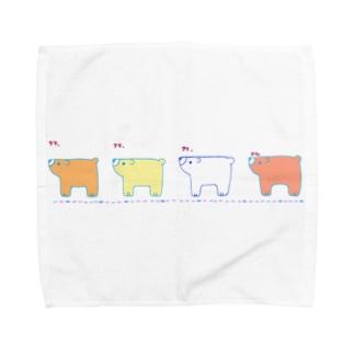 クマ、クマ、クマ、クマ。 Towel handkerchiefs