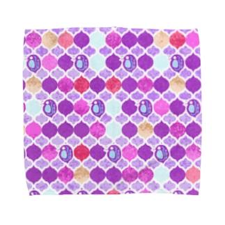 ミジンコ×モロッカン_紫 Towel handkerchiefs