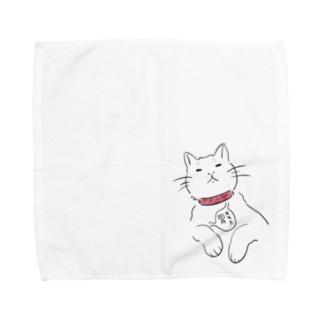 お腹痛いをかわりに伝える猫 Towel handkerchiefs