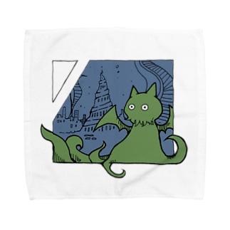 冒涜的な猫ルフ(色付き) Towel handkerchiefs