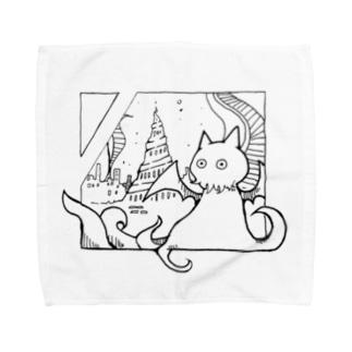 冒涜的な猫ルフ(色なし) Towel handkerchiefs