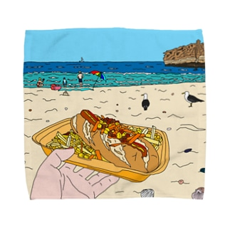 Hotdog on the Beach Towel handkerchiefs
