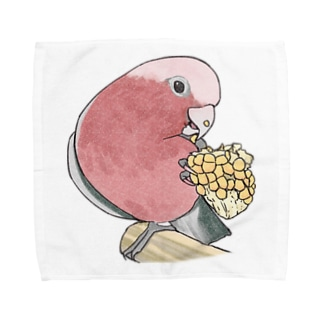 まめるりはことりのモモイロインコちゃんとトウモロコシ【まめるりはことり】 Towel handkerchiefs