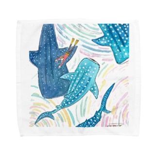 ジンベエザメの群れ Towel handkerchiefs